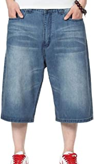 FSSE Mens Relaxed Fit Washed Plus Size Stylish Hip-hop Baggy Denim Shorts Pants