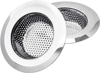 Uneslyck 2PCs Premium Kitchen Sink Strainer, Anti-Clogging Stainless Steel Sink Disposal Stopper, Perforated Basket Drains Sieve for Kitchen Sink Drain - Large Wide Rim 4.5'' Diameter/Silver/Polished
