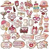 HOWAF 39 PCS 30 Cumpleaños photocall comunion niña,Photo Booth Props atrezzo fotografia Oro Rosa para Adultos ,Mujeres Fiesta de cumpleaños Decoraciones