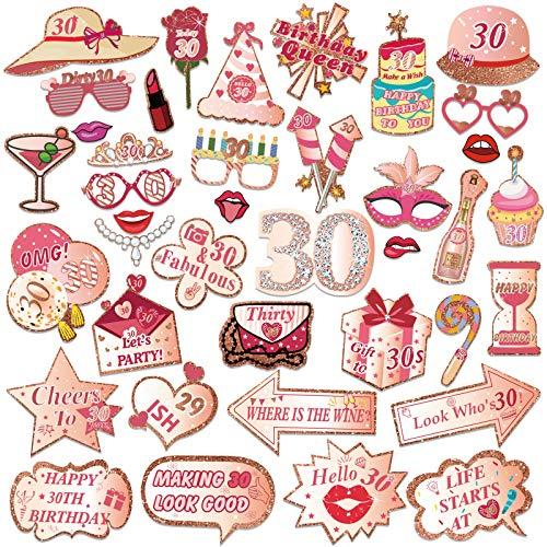 HOWAF 39 pz Oro Rosa Photo Booth Compleanno 30 Anni Gadget Foto Props Accessori Kit Compleanno Puntello...