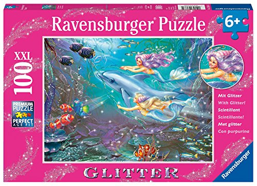 Ravensburger -Little Mermaids - 100 Piece Glitter Jigsaw Puzzle for Kids – Every Piece is Unique, Pieces Fit Together Perfectly