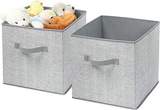 mDesign Corbeille Rangement Tissu (Lot de 2) – casier de Rangement Pratique – Panier Rangement bébé Parfait – Grand Compar...