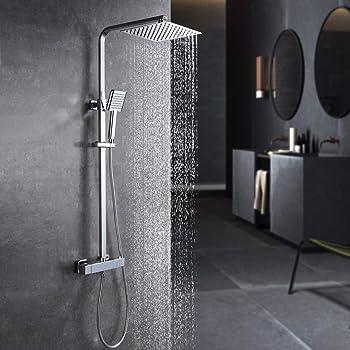 H/öhenverstellbarer Handbrausehalter Anti-Verbr/ühungs-Duschsystem Komplett Hochglanz verchromt Duschsystem Duscharmatur mit Regendusche und Handbrause Schwenkbarer Duschkopf
