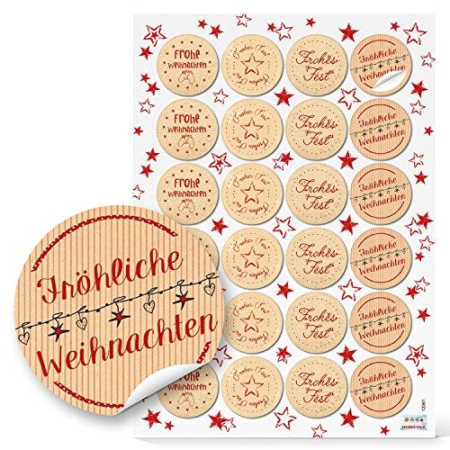 96 Weihnachtsaufkleber Aufkleber rot beige natur FROHE WEIHNACHTEN Ø 4 cm Sticker Geschenkaufkleber give-away Kunden-Geschenke Etiketten Geschenkverpackung weihnachtlich Papiertüten zukleben