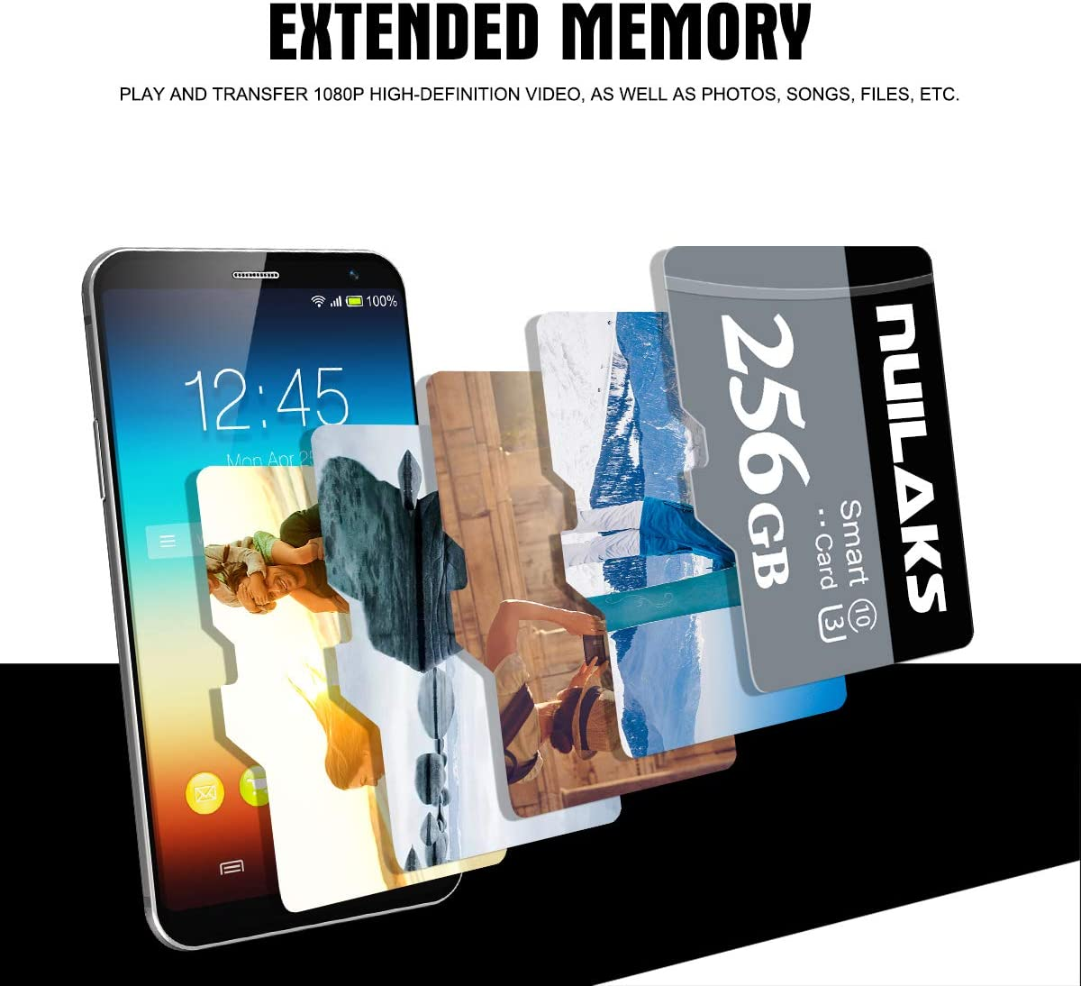 256GB Micro SD Card High Speed Class 10 SDXC with SD Adapter Designed for Android Smartphones, Tablets and Other Compatible Devices