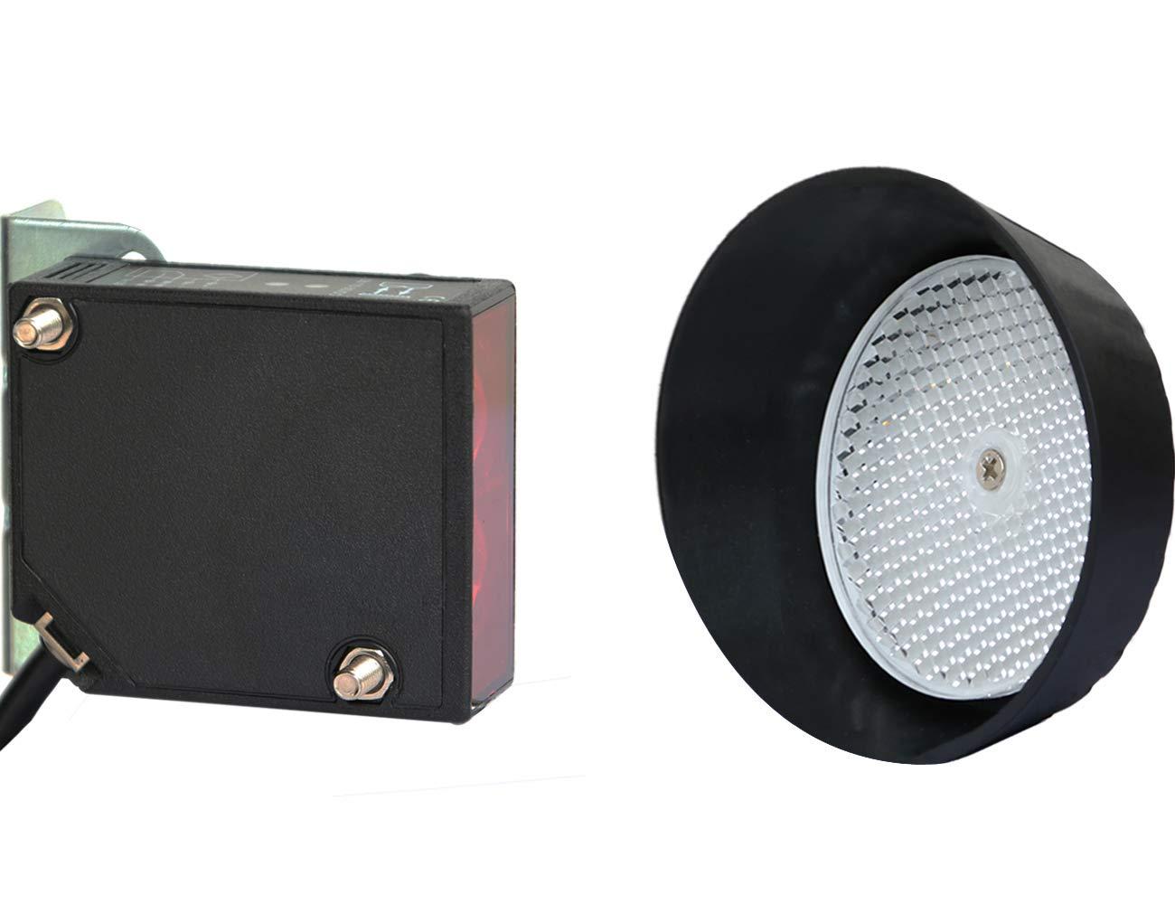 Photoelectric Beam Sensor for Gate Garage Door Opener Safety Reversing Reflective Infrared Sensor Reflector Photo Eye Wall Mounted