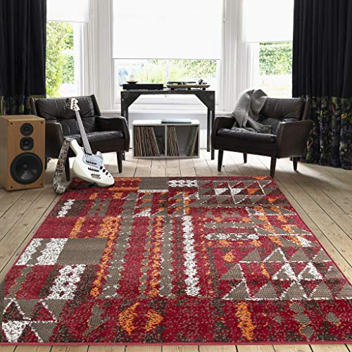 Terracotta Red Geometric Patchwork Rug Brown Orange Living Room Area Bedroom Floor Rugs 120cm x 170cm