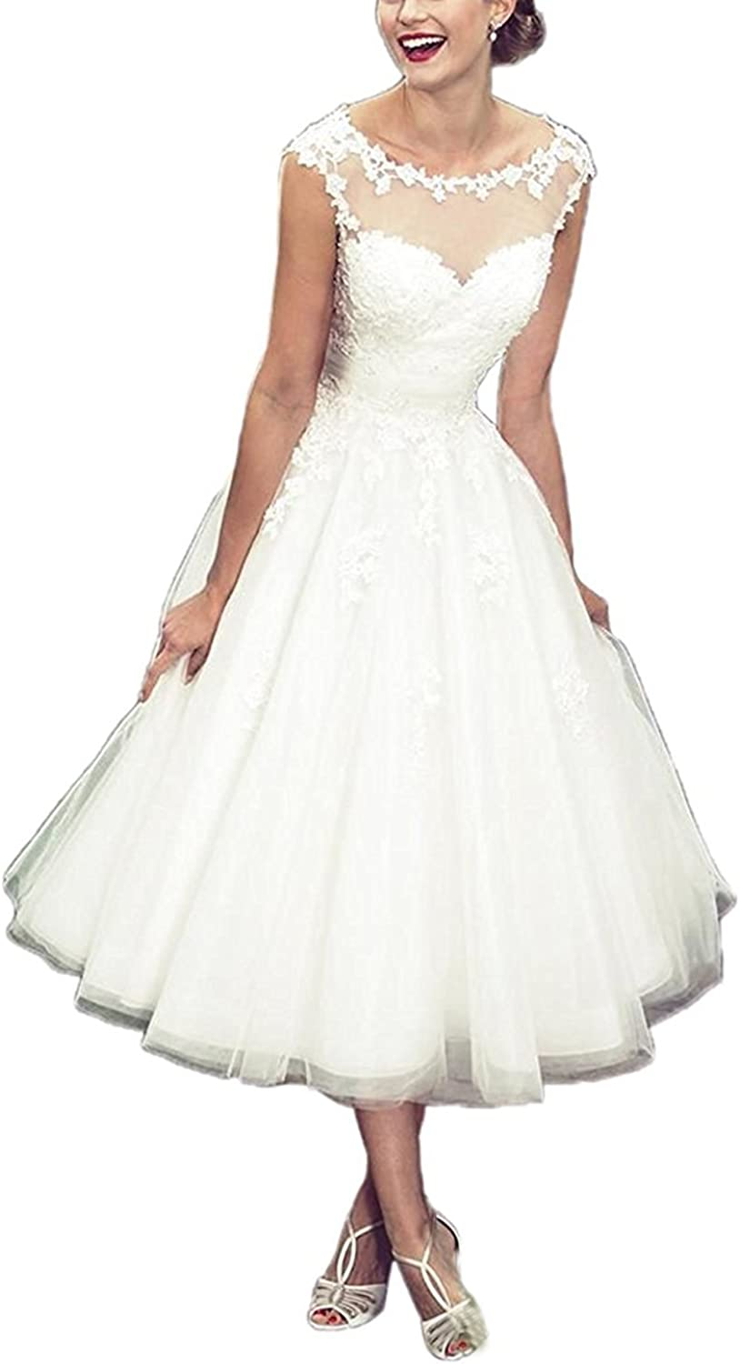 Kmformals Women's Tea Length Sheer Top Short Wedding Dress Bride Gown