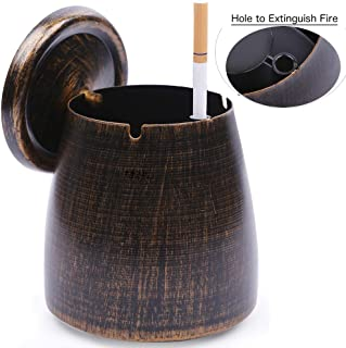 LOTUS LIFE Ashterior Ashtray with lid for cigarettes windproof stainless steel outdoor indoor Copper Brown (Small)