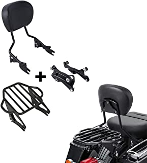 XFMT Detachable Passenger Backrest Sissy Bar With Two-Up Luggage Rack and 4 Point Docking Hardware Kits Fit For Harley Touring 2014-2020