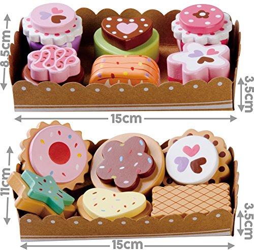 bee SMART Torte di Legno e Biscotti Set (12 Pezzi), con 2 vassoi in Cartoncino e la Carta di Selezione