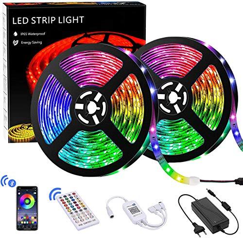 Tira Led, 10m Luces de Cuerda Led con 28 Modos Dinámicos, RGB 5050 Luz LED, con 20 Botones Control Remoto IR Aplicación Tira de LED Controlada por Bluetooth para DIY en Hogar,Fiesta Bodas Navidad