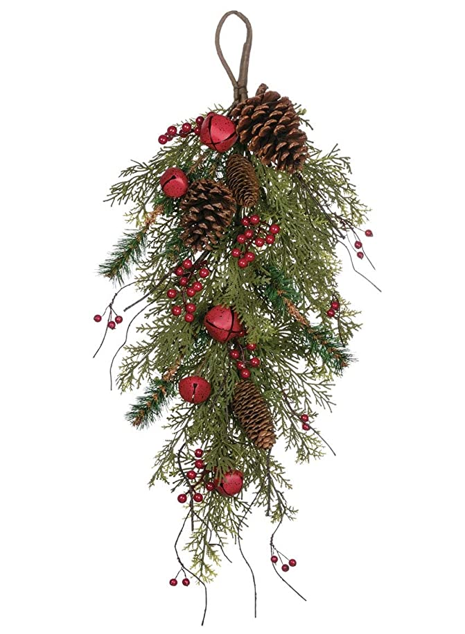 Sullivans Artificial Greenery Swag, Pine, Bell, Cone, and Red Berry, Decorative Accent, 18