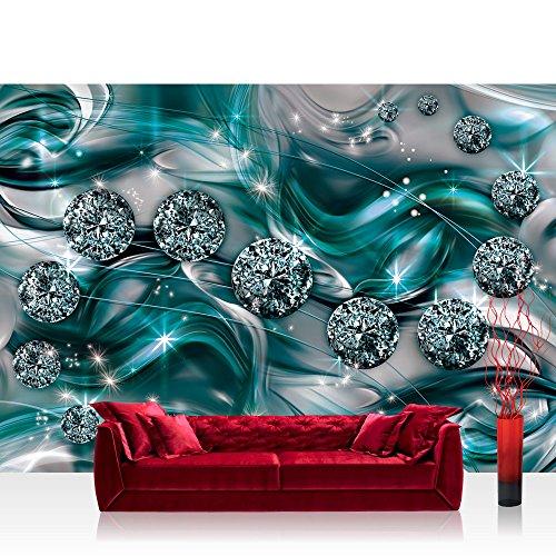 Fototapete 368x254cm PREMIUM Wand Foto Tapete Wand Bild Papiertapete - Ornamente Tapete Diamanten Brillanten Sterne türkis - no. 3371