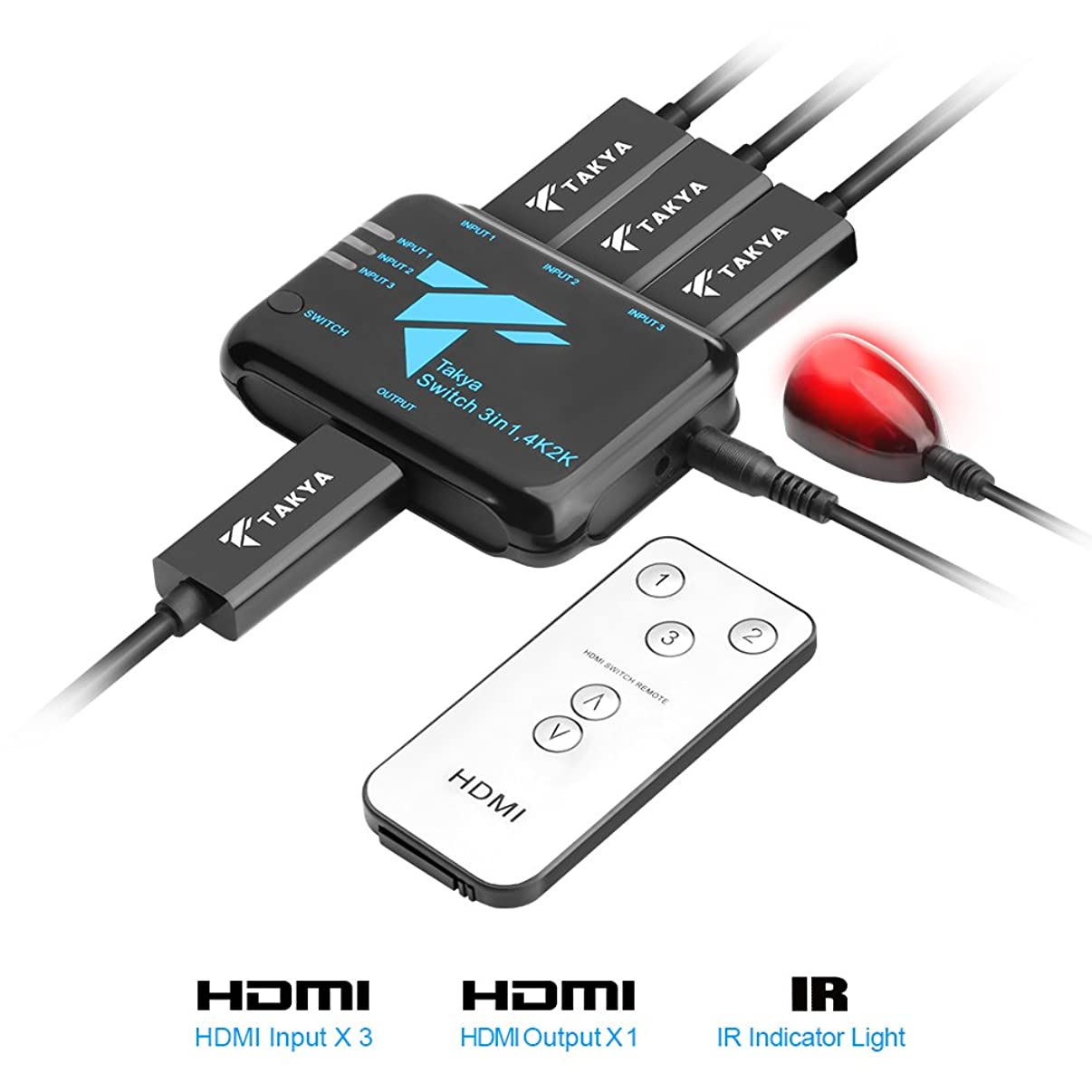 HDMI Switch with Remote, Takya 3 Way HDMI Switch 3 in 1 Out Transfer Resolution 4K x 2K / 3D /Full HD 1080p for HDTV/Xbox/Camera/PS3/PS4, with IR Receive, 3 HDMI Input&1 HDMI Output Adapter