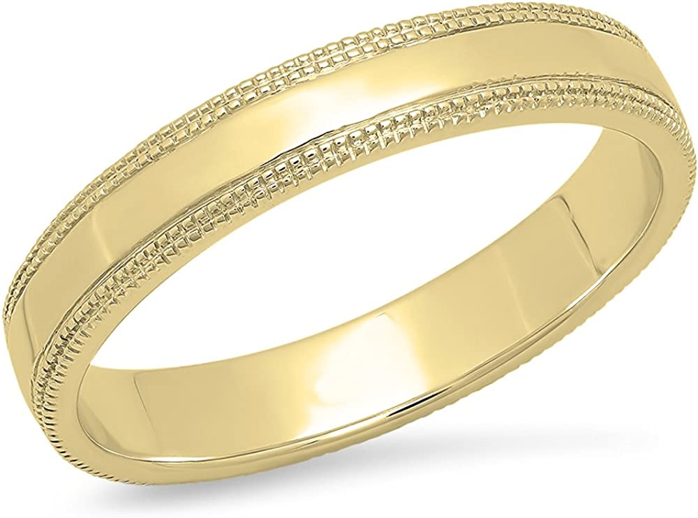Dazzlingrock Collection 10K Gold Men's Ring Wedding Band Edged Plain Shiny Polished Traditional Fit