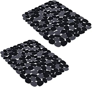 Yolife Kitchen Sink Mats, Adjustable for Stainless steel/Porcelain Sink, Dishes and Glassware,BLACK (2 Pack)