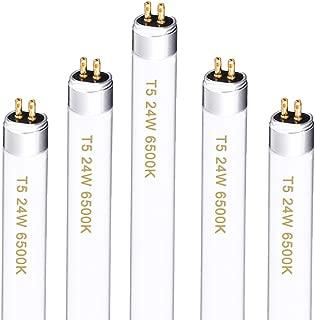 Oppolite T5 2FT 5-Pack 24 W Grow Light Bulbs Fluorescent Ho Bulbs 6500K for Indoor Horticulture Gardening T5 Grow Lights Fixtures