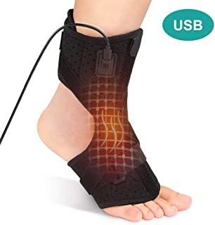 Heated Plantar Fasciitis Support Brace,  Hot Therapy Night Splint for Achilles Tendonitis with 3 Level Temp Control,  Drop Foot and Heel Pain Relief for Arthritis Sprains Strains