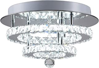 KAI Crystal Ceiling Light Flush Mount Modern Luxury Not Dimmable LED Chandelier Lamp with 6000K 30W 120LM/W SMD5730 60LEDs Lighting for Bedroom Foyer Entry Dining Room(Chrome Round, 1 Pack)