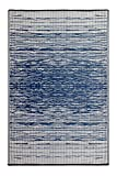 Fab Habitat Reversible Rugs - Indoor or Outdoor Use - Stain Resistant, Easy to Clean Weather Resistant Floor Mats - Brooklyn - Blue (3' x 5')