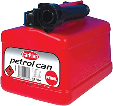 CarPlan TPF005 Tetracan Leaded Petrol Can 5L with Cap Oil Spirit Fuel Jerry Transport and Storage Ideal For Cars Vans 4x4's Caravan Motorhomes Motor Garage Car Includes Spout 5 Litre Red: image