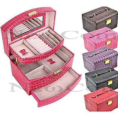 Newcom Grande Mock-Croc 3Couches Boîte à Bijoux/cosmétique/Sac étui de Transport avec Serrure et Miroir
