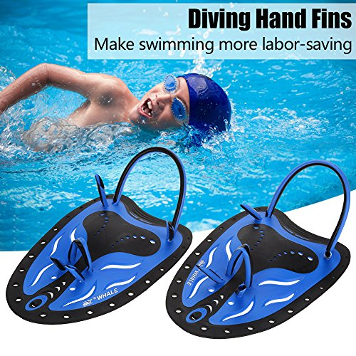 GOTOTOP 2 Farbe Schwimmen Tauchen Hand Flossen Paddles Webbed Ausbildung Fin Tauchen Ausrüstung ideal zum Schwimmen, Tauchen, Schnorcheln und so weiter (M, Blau)