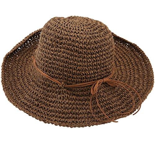 Urban CoCo Women's Wide Brim Caps Foldable Summer Beach Sun Straw Hats (Dark Coffee)