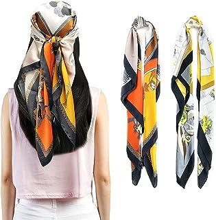 أوشحة رأس مربعة كبيرة من FINايزو - 2 قطعة من الحرير مثل الرقبة أغطية النوم والأوشحة الحريرية للنساء