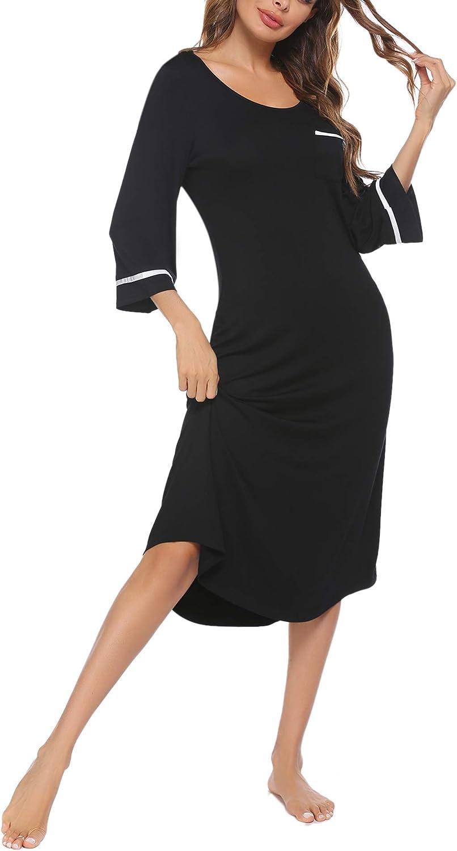 Ekouaer Sexy Sleeveless Nightgowns, Womens Soft Spaghetti Strap V Neck Chemise Sleepwear Dress