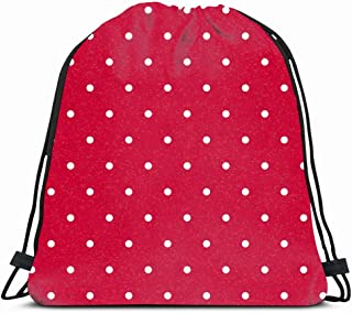 Drawstring Backpack String Bag 14X16 Colorful Polka Circle Red Polkadotted White Design Dot Pattern Happy Holiday Dirty Birthday Box DIY Retro Sport Gym Sackpack Hiking Yoga Travel Beach