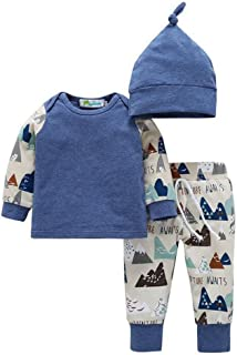 MiyaSudy Toddlers Baby Boys Long Sleeve Romper+ Camouflage Pants+Hat Infant Newborn Clothing Set