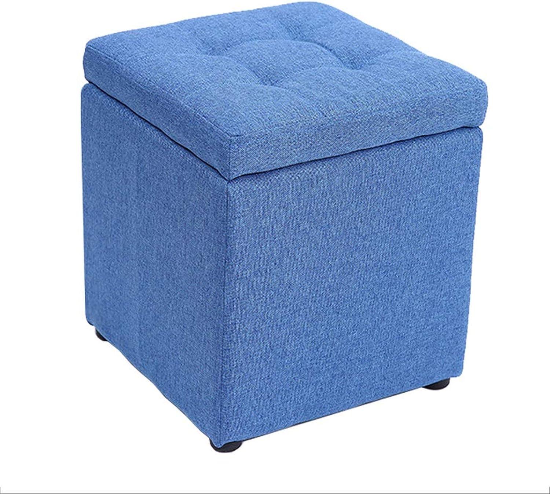 Storage Stool Practical Footstool Highly Elastic Sponge Filling Wooden Cloth Storage Stool Bedroom Pouffe Upholstered Footrest Living Room Tea Table Stool,Max.100KG Bed End Stool (color   bluee)
