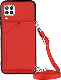 Lanyard plånbok kreditkortsfodral mobiltelefonfodral för Huawei P40 Liten/Nova 6 SE (röd)