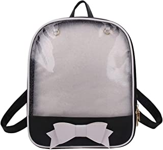 Cute Bowknot Candy Leather Clear Backpack Transparent Beach Girls School Bag (White)