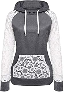 KESEELY Coat Women Sheer Lace Long Sleeve Hooded Patchwork Sweatshirt with Pockets