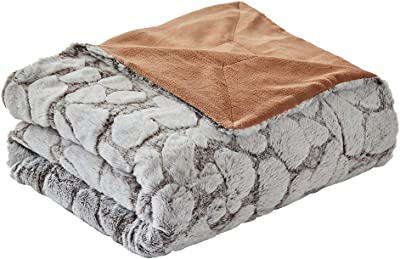 """FY FIBER HOUSE Super Soft Rabbit Faux Fur Fleece Throw Blanket Thick Luxurious Faux Fur Plush Warm Fuzzy with Stone Pattern for Bed Sofa, 60""""X80"""", Cappuccino"""