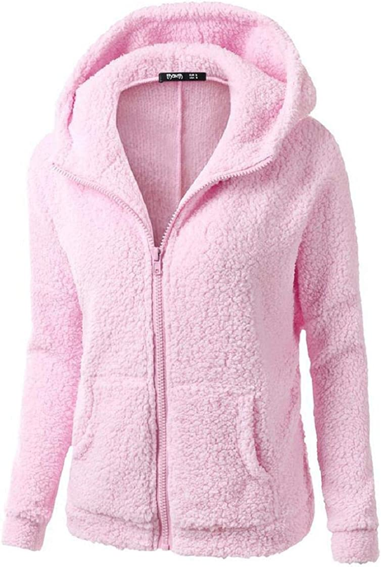 Faux-Fur Hoodies Tops for Women Long Sleeve Pure Color Zipper Jackets Windproof Coat with Pockets Warm Gifts