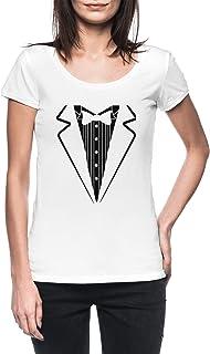 Arco Corbata Smoking Mujer Blanco Camiseta Manga Corta Women's White T-Shirt