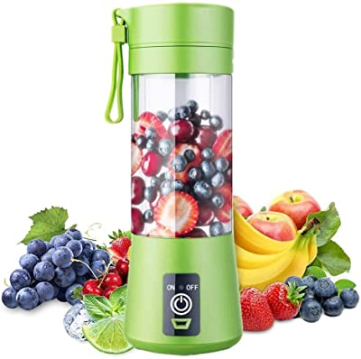Aizbao Portable Blender, 380ml Six Blades 3D Juice cup, Small Fruit Mixer, Personal Mixer Fruit Rechargeable with USB, Mini Blender for Milk Shakes, Smoothie, Fruit Juice (Light Green)