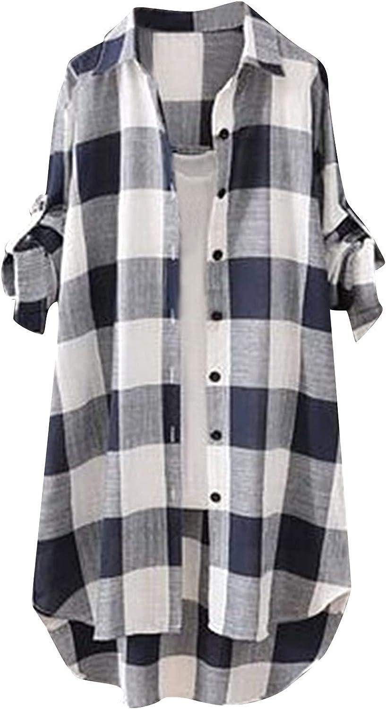 Lsilina Women's V Neck Linen Short Sleeve Tunic Botton Down T-Shirt Summer Loose Tees Blouse Top Plus Size Casual