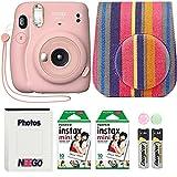 Fujifilm Instax Mini 11 Camera with Case, Fuji Instant Film (20 Sheets) and Photo Album (Blush Pink)