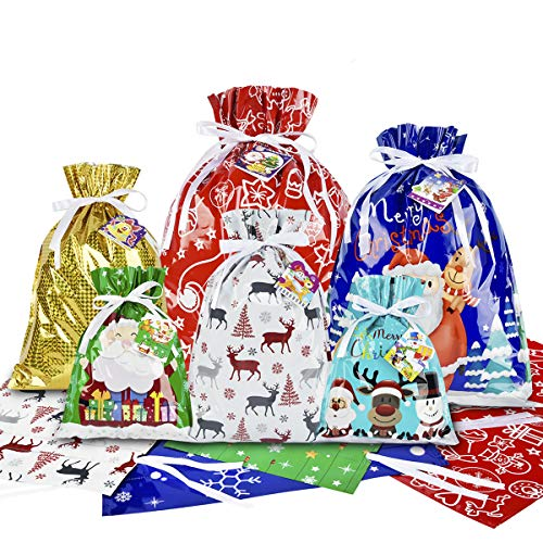 RFWIN Christmas Drawstring Gift Bags 20pcs Assorted Present Wrapping Bags, Christmas Goodie Bags with 20 Tags for Xmas Birthday Party Favor