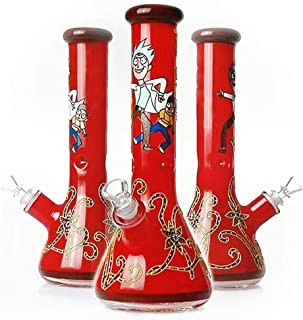 11 Inch Pipe Dual Water Percolator Decorate Glass Bottles at Home Glow in The Dark Hand-Made Glass Crafts(Red)