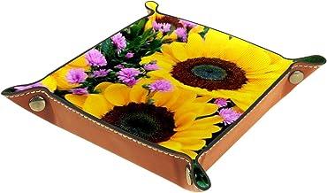 HOHOHAHA Składana taca do toczenia kości ze skóry PU do zegarka biżuteria pudełko pudełko uchwyt słoneczniki 16 x 16 cm