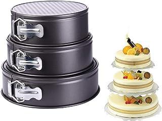 Springform Cake Tin Set, VolksRose Non-Stick 3 Pieces (9″/9.5″/10″) Round Cheesecake Mold Bakeware Carbon Steel Cake Bakin...