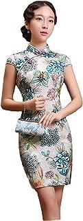 EXCELLANYARD Women's Cotton Chinese Qipao Cheongsam Dress