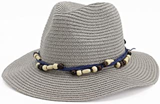 Fashion Summer Sun Hat Casual Vacation Panama Straw Hat Women Wide Brim Beach Jazz Hats Foldable Chapeau` TuanTuan (Color : Gray, Size : 56-58CM)