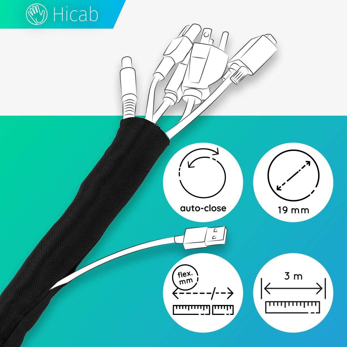 Tubo portacables de Hicab: recortable y con autocierre. Funda para cable de 3 m de longitud, 19 mm de anchura y color negro. Permite ocultar los cables del escritorio y del televisor.: